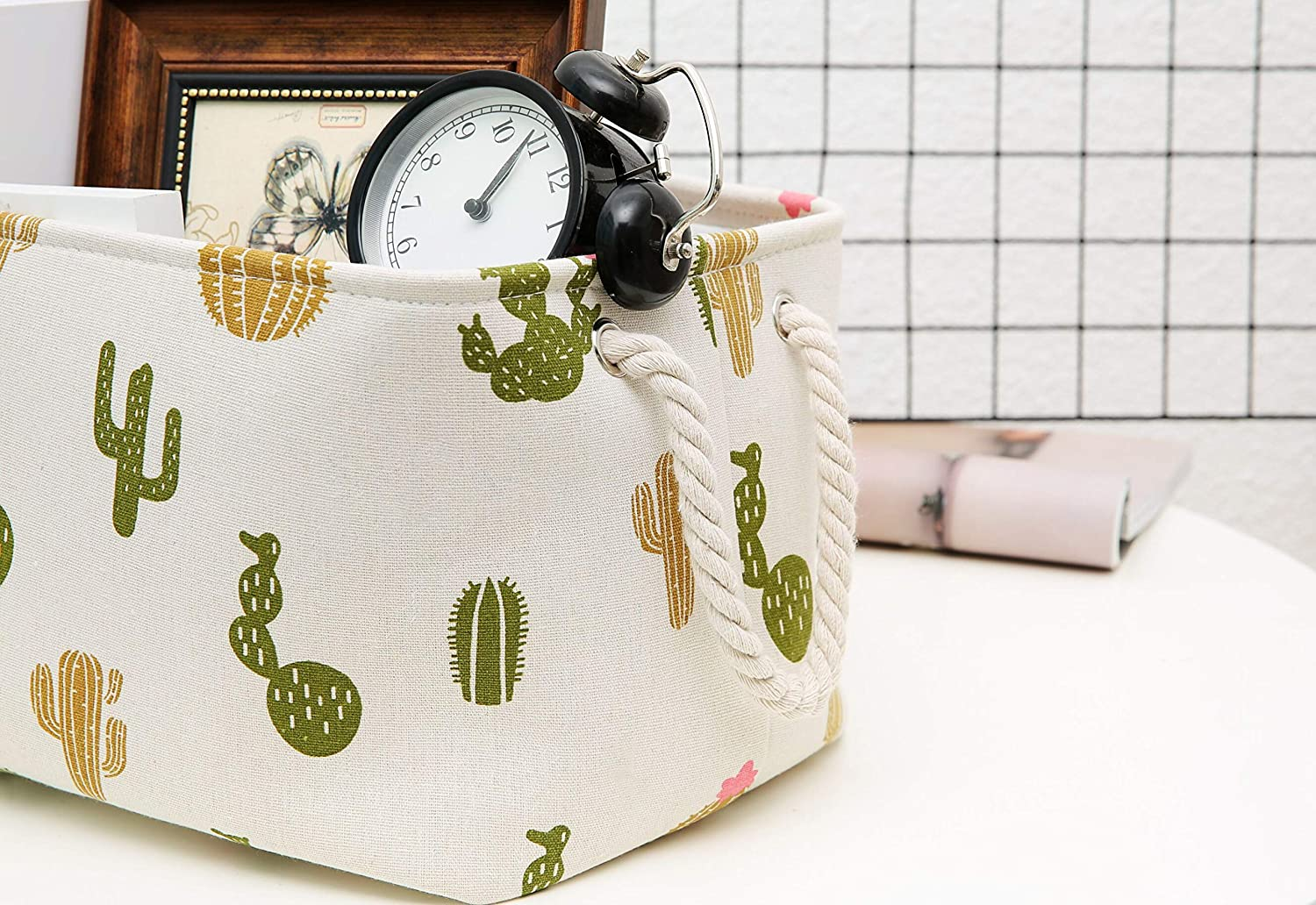 Cactus, M:13.4 L AOLIWEN Storage Bins Baskets Polyester Cotton Waterproof Fabric Storage Bins for Cloth Storage Bathroom Storage Baskets for Closet Storage,Toys Books Basket for Gifts 3 Size