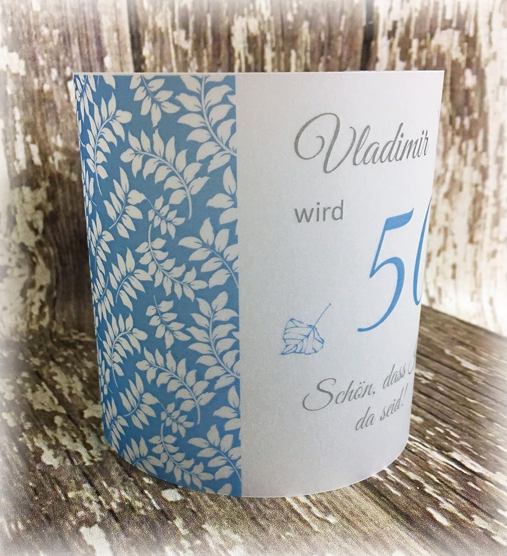 4er Set Tischlicht Tischlichter Blätter runder Geburtstag 40 50 60 70 80 90 Tischdeko personalisierbar blau türkisblau