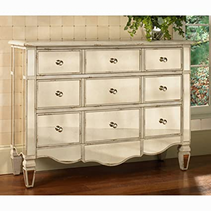Overstock Hand Painted Mirrored Drawer Accent Chest