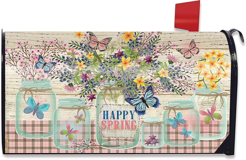 Briarwood Lane Happy Spring Mason Jar Floral Magnetic Mailbox Cover Standard