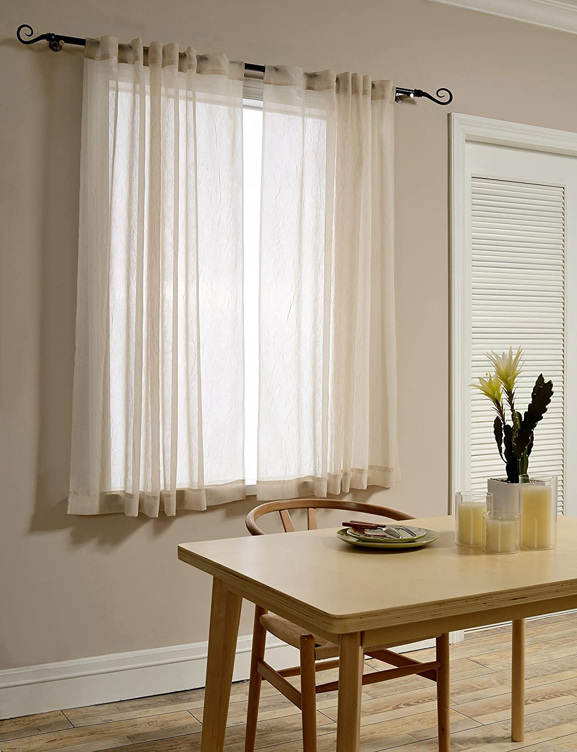 Mysky Home Back Tab and Rod Pocket Window Crushed Sheer Curtains for Living Room, Wood Beige