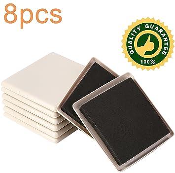 8 PACK 5 Inch Reusable Furniture Slider For Carpet,Square Furniture Mover,Furniture  Sliders