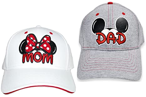 cff348ed33d Image Unavailable. Image not available for. Color  Set Disney Dad Mickey    Mom Minnie Hats Baseball Caps ...