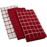 "Ritz 100% Cotton Terry Kitchen Dish Towels, Highly Absorbent, 25"" x 15"", 3-Pack, Paprika Red"