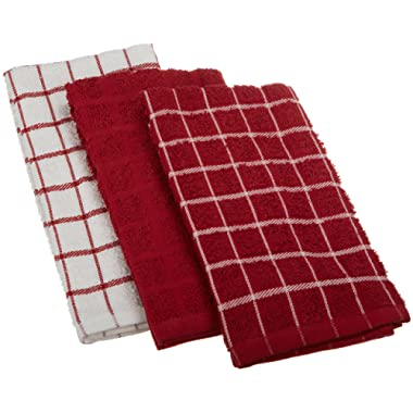 """Ritz 100% Cotton Terry Kitchen Dish Towels, Highly Absorbent, 25"""" x 15"""", 3-Pack, Paprika Red"""
