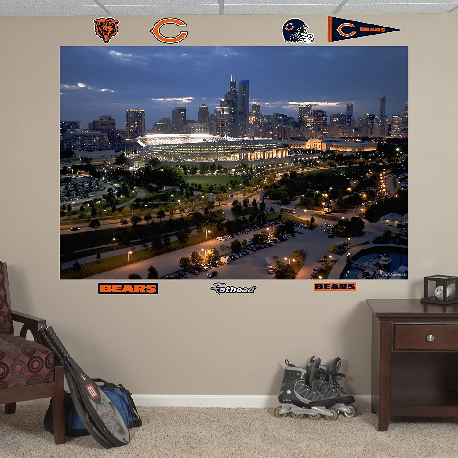 Amazon.com : NFL Chicago Bears Soldier Field Skyline Mural Wall Graphics :  Sports Fan Wall Banners : Sports U0026 Outdoors Part 50