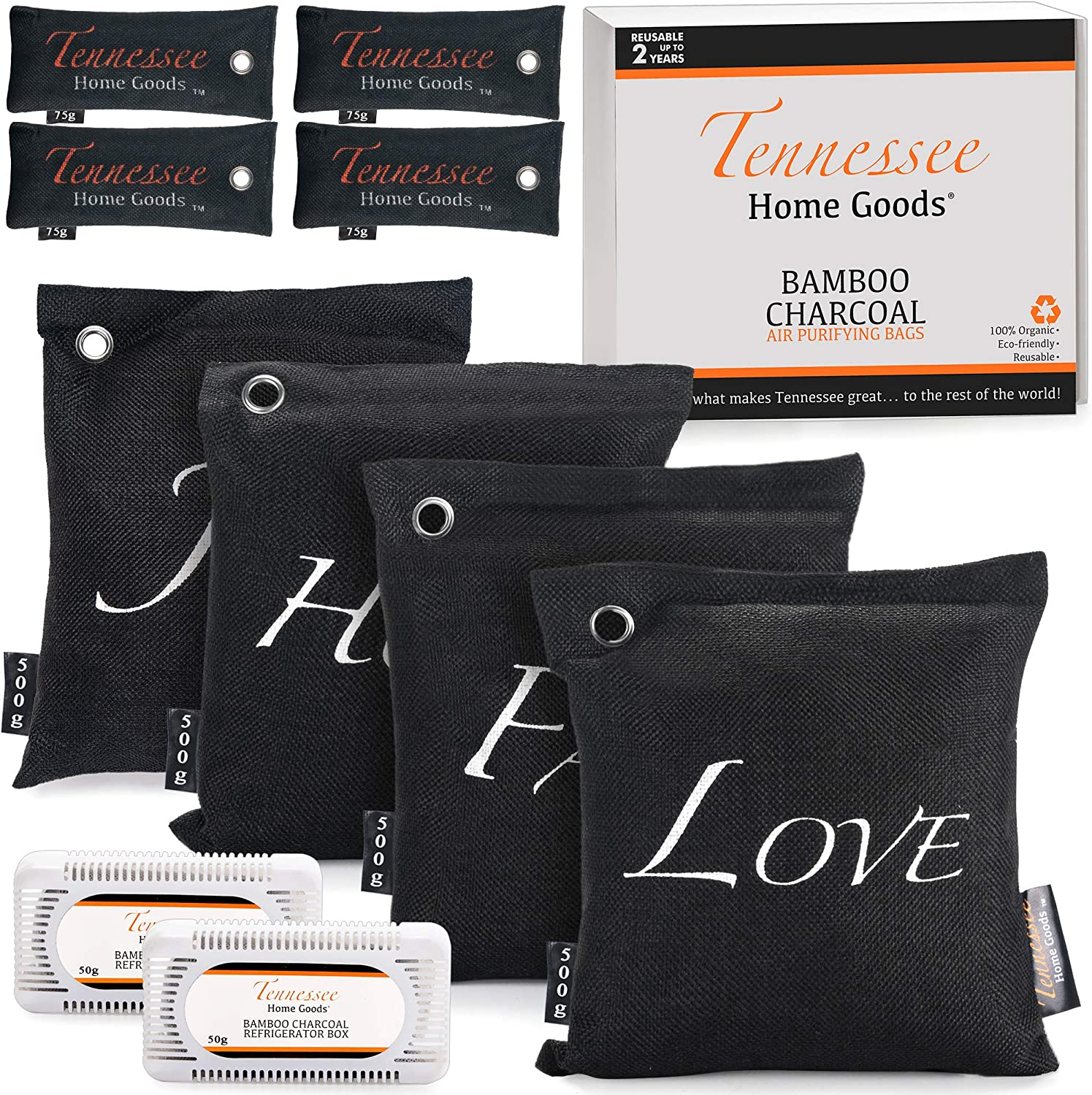 1000g Organic Bamboo Charcoal Air Purifying Bags Odor Absorber Safe for Family