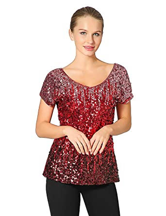 009e8170 Metme Women's Summer Sequin Tops Sparkly Short Sleeve Tunic Blouse Top  Bringht Pink/Red/