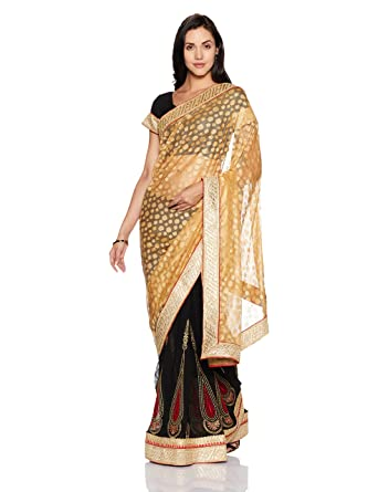 450feb832a45e5 Womanista Women's Embroidered Faux Georgette Saree with Blouse Piece  (FS9313-Beige & Black-