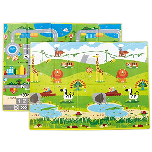 Hape Foldable Play Mat – Large Tummy Time Folding Reversible Baby Mats for Playing or Crawling