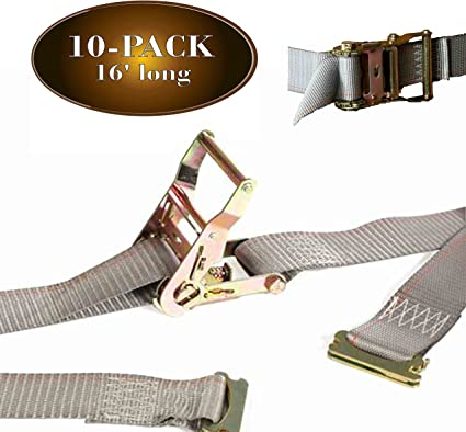 E Track Ratcheting Straps Cargo Tie Downs 2 x 12 Heavy Duty NEW FREE SHIPPING