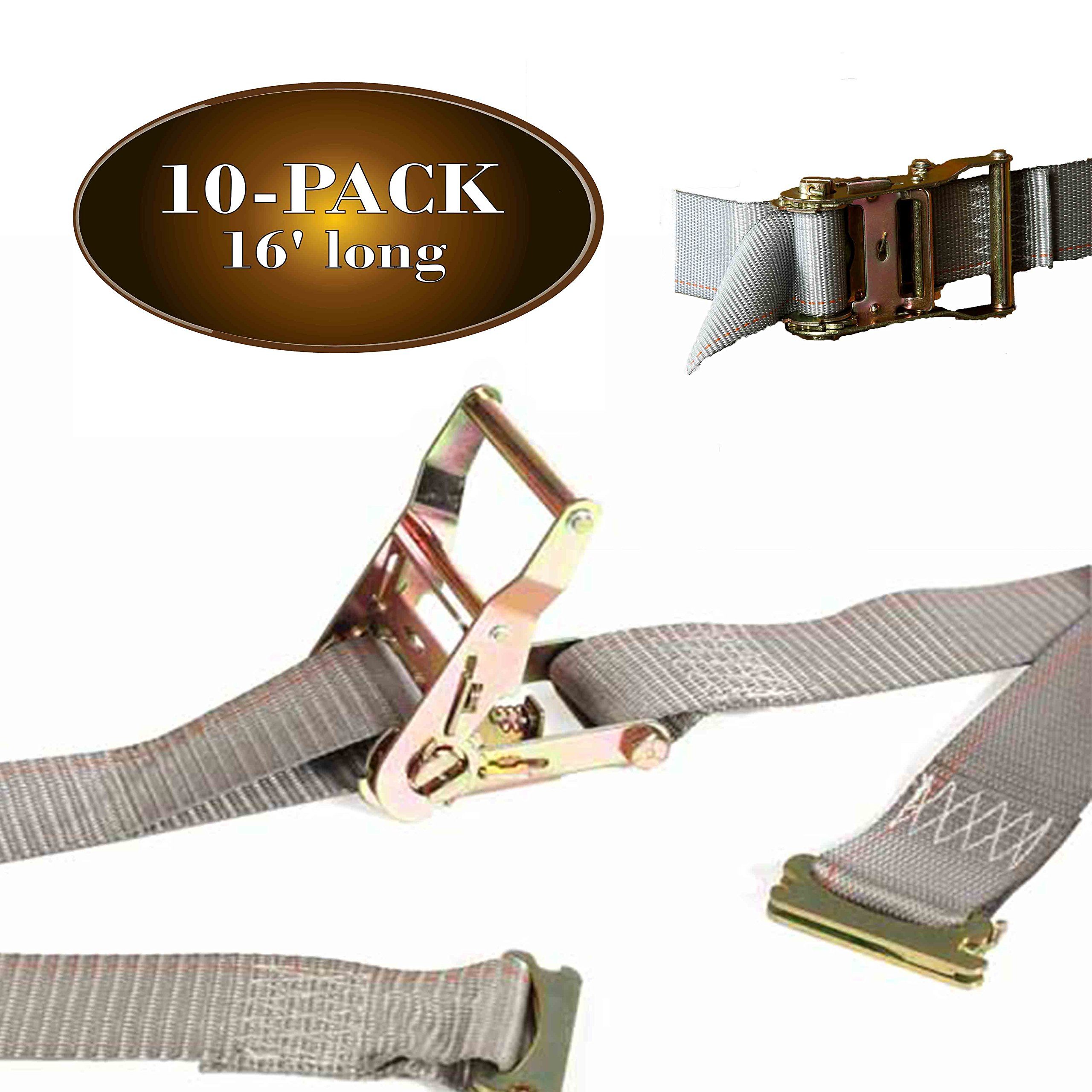 10 E Track Ratchet Tie-Down Cargo Straps, 2'' x 16' Durable Ratcheting Strap Cargo TieDowns, Heavy Duty Grey Polyester Tie-Downs, ETrack Spring Fittings by DC Cargo Mall