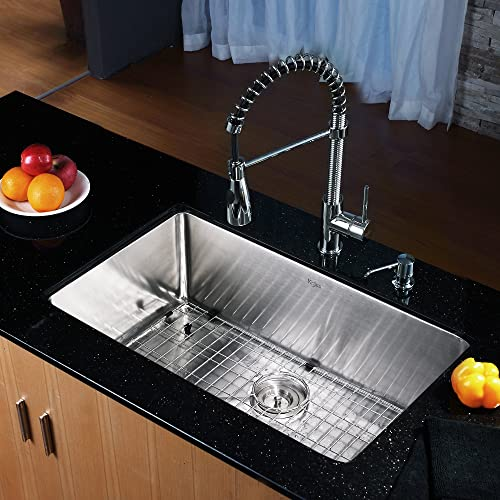 Kraus KHU100-30-KPF1612-KSD30SS 30 Undermount Single Bowl Stainless Steel Kitchen Sink with Stainless Steel Finish Kitchen Faucet and Soap Dispenser