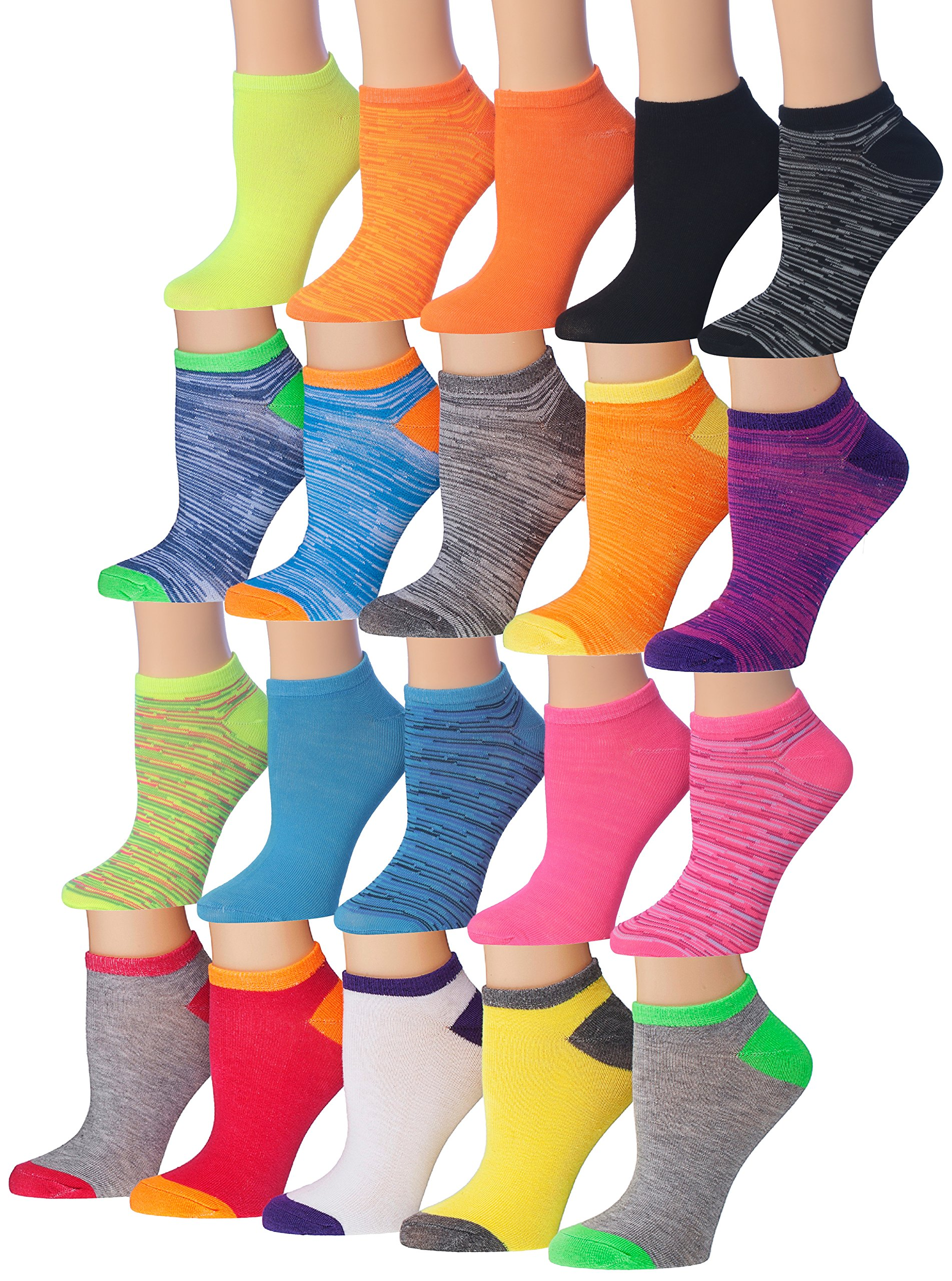 Tipi Toe Women's 20 Pairs Colorful Patterned Low Cut / No Show Socks, (sock size9-11) Fits shoe size 6-12, WL07-AB