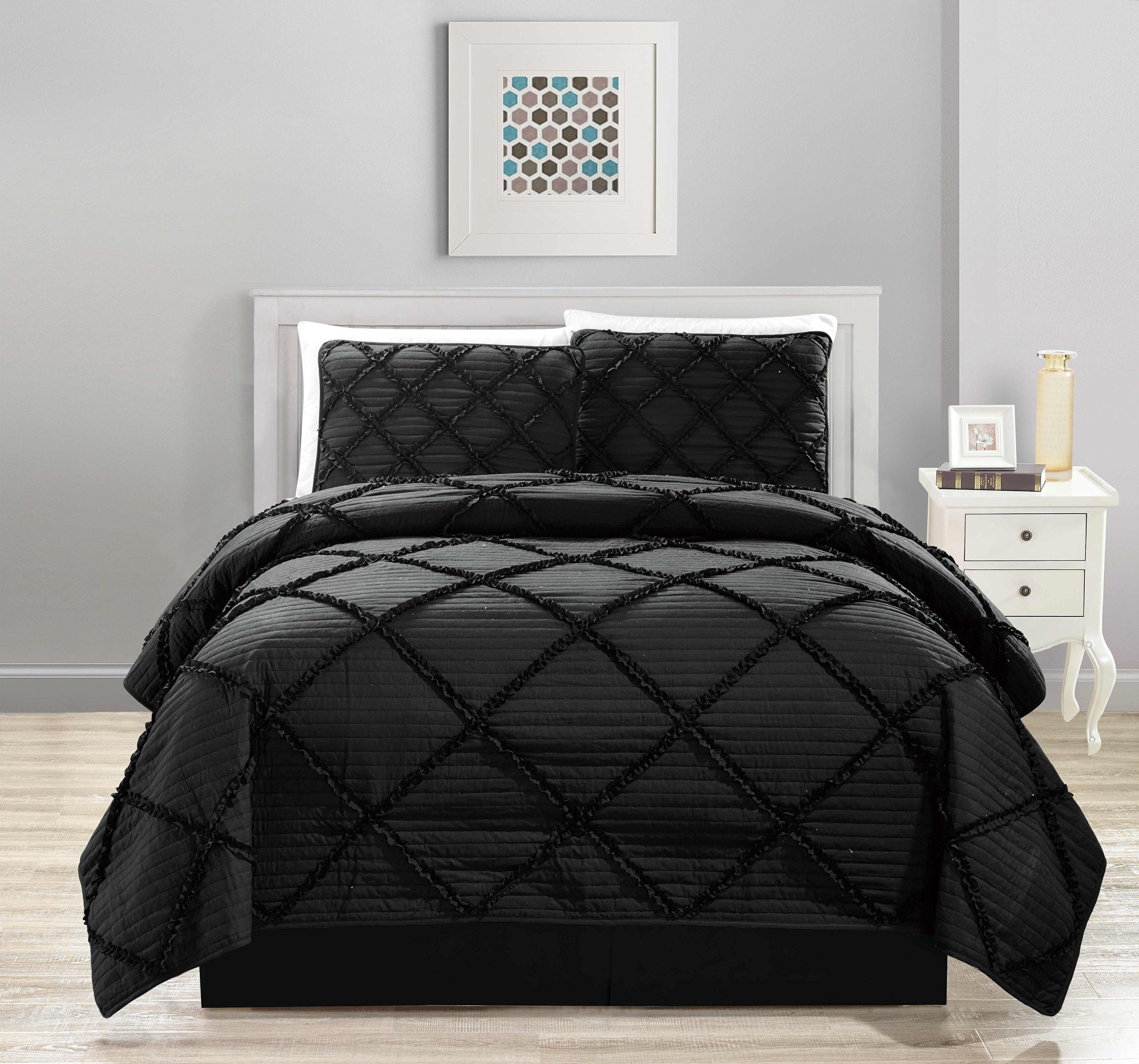 All American Collection New 4pc Diamond Pleated Ruffle Bedspread/Quilt Set with Bedskirt (King Size, Black)