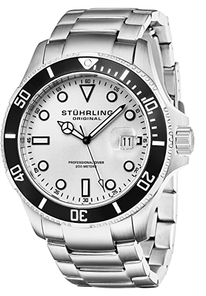 Stuhrling Original Aquadiver Analog Silver Dial Men's Watch - 417.01 Men's Watches at amazon
