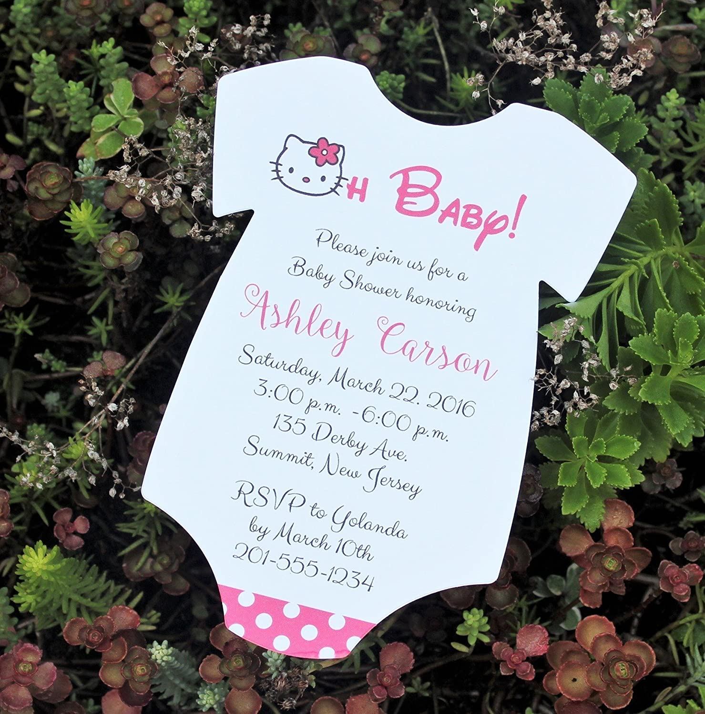 Amazon.com: Set Of 10 Hello Kitty Baby Shower Invitations   All Wording  Customized   Girl Baby Shower: Handmade