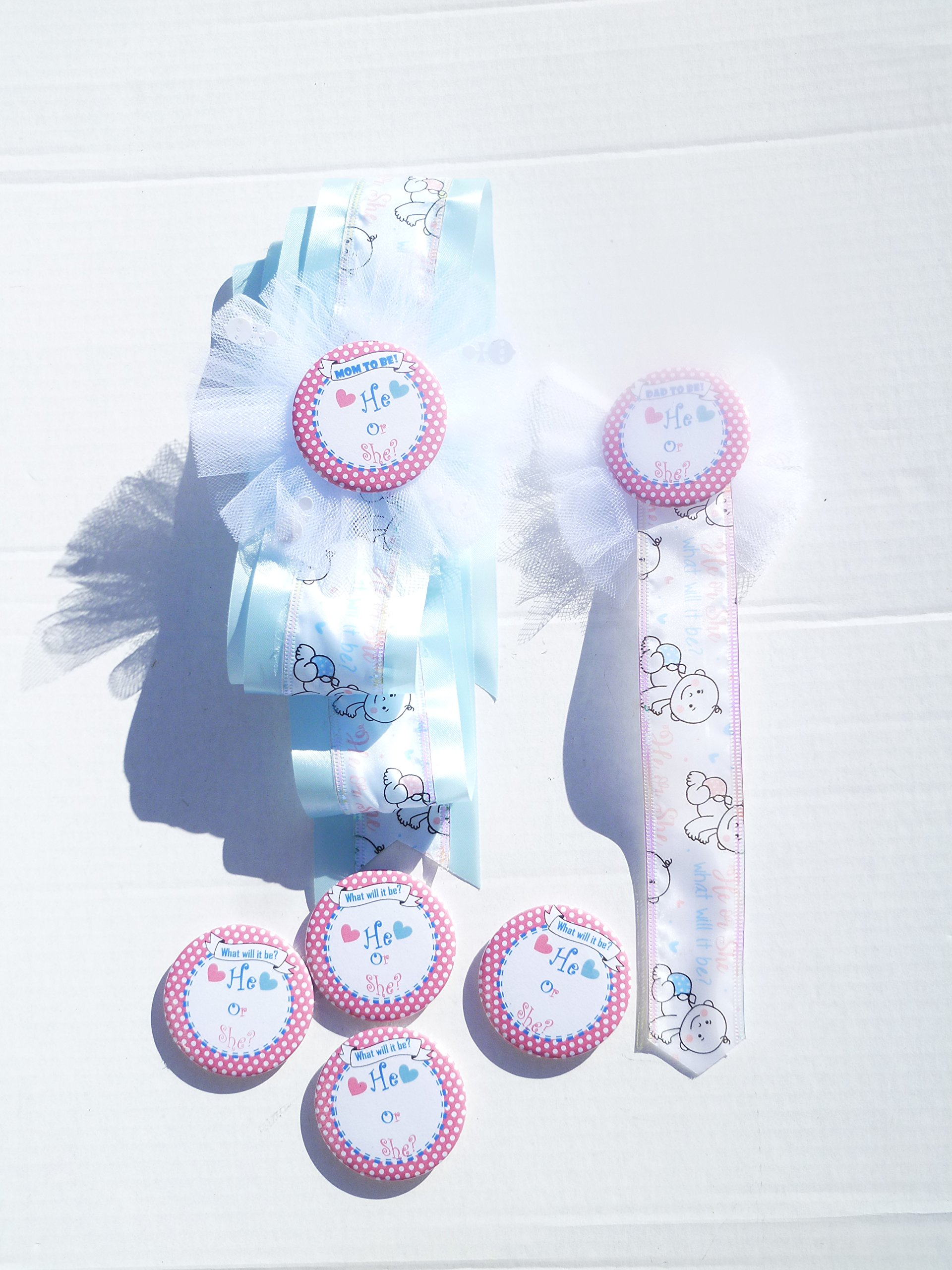 Gender Reveal Baby Shower Party Themed Sash and Buttons For Mom and Dad and Guest (Pink and Blue)