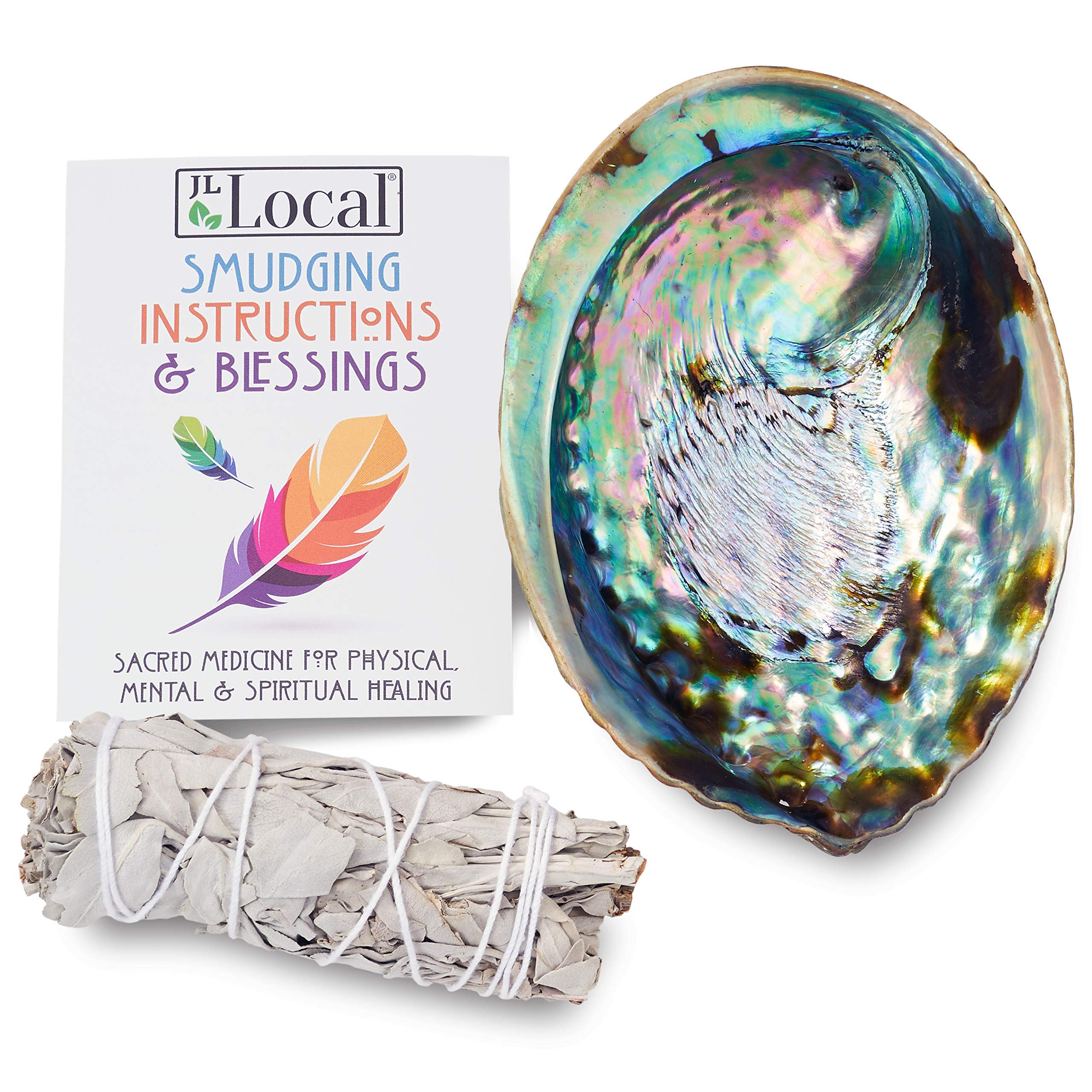 JL Local Origins Smudging Kit - White Sage Smudge Stick + Abalone Shell Bowl   Sustainably Sourced Healing Incense for Home Cleansing, Blessing, Protection, Prosperity, Meditation, Positive Energy by JL Local
