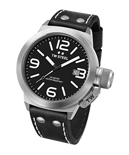 75ddba85ed5e TW Steel Canteen Leather Quartz Watch with Black Dial Analogue Display and  Black Leather Strap CS1  Amazon.co.uk  Watches