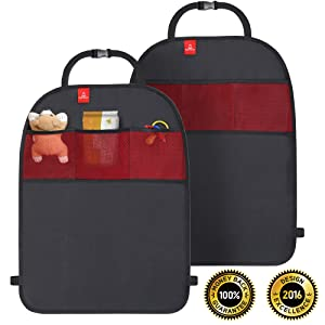 ROYAL RASCALS Kick Mats x2 | Car Seat Upholstery Protector | Organiser Pockets | Universal size | Heavy Duty Kick and Stain Protection | PREMIUM PRODUCT