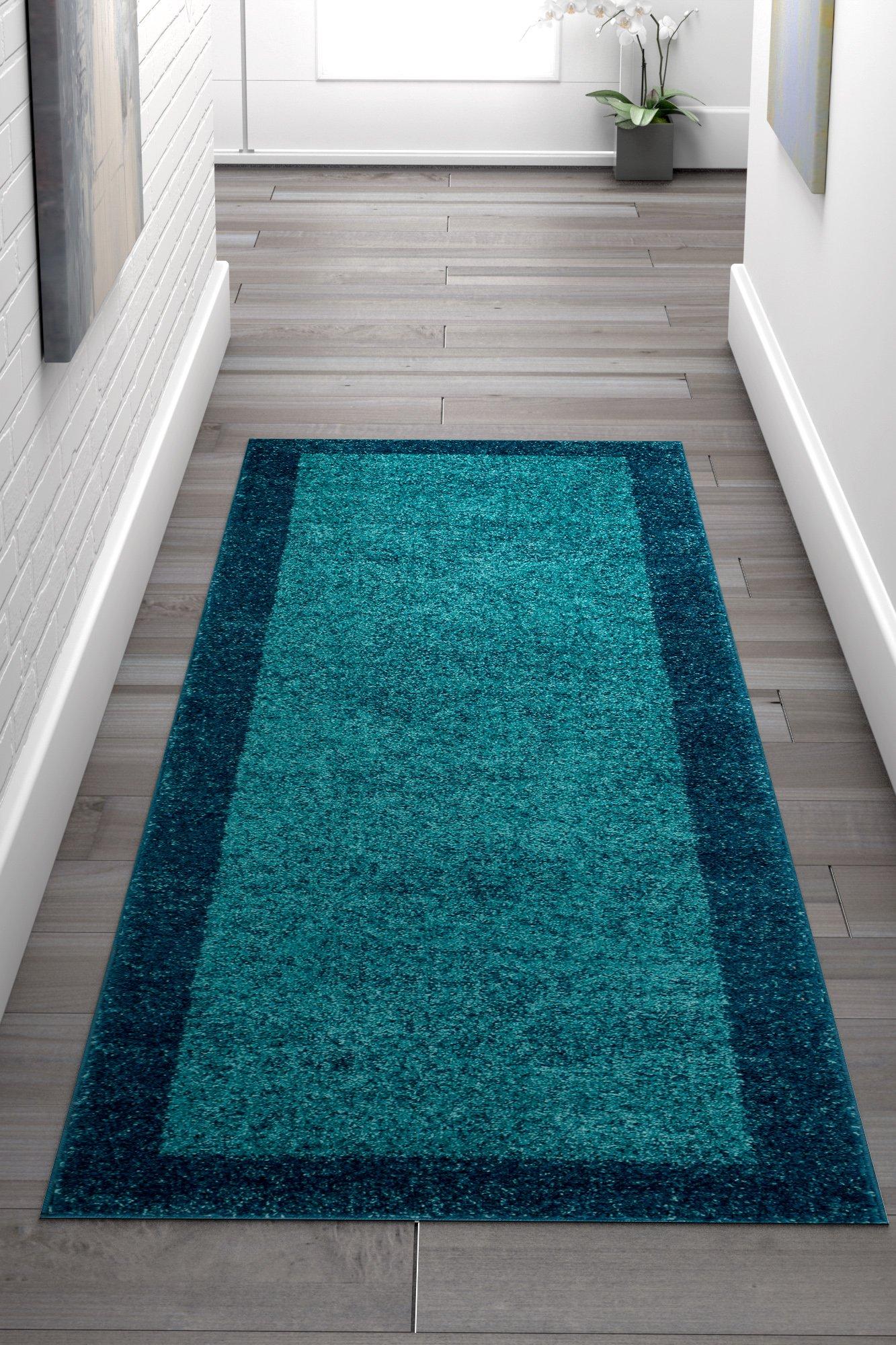 HomeWay Bordered Blue 2'3 x 7'3 Runner Mid-century shaded pattern soft Rug modern Velvety bright soft Area Rug