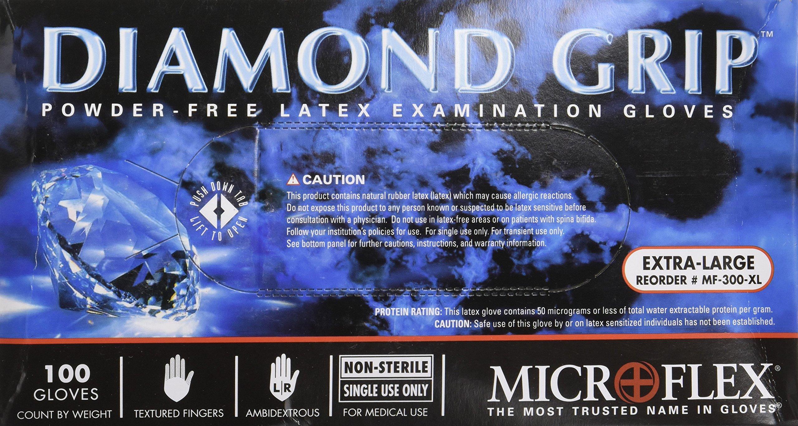Microflex MF300XL-10PK - Diamond Grip Powder-Free Latex Gloves - Case Of 10 B... by Microflex (Image #1)