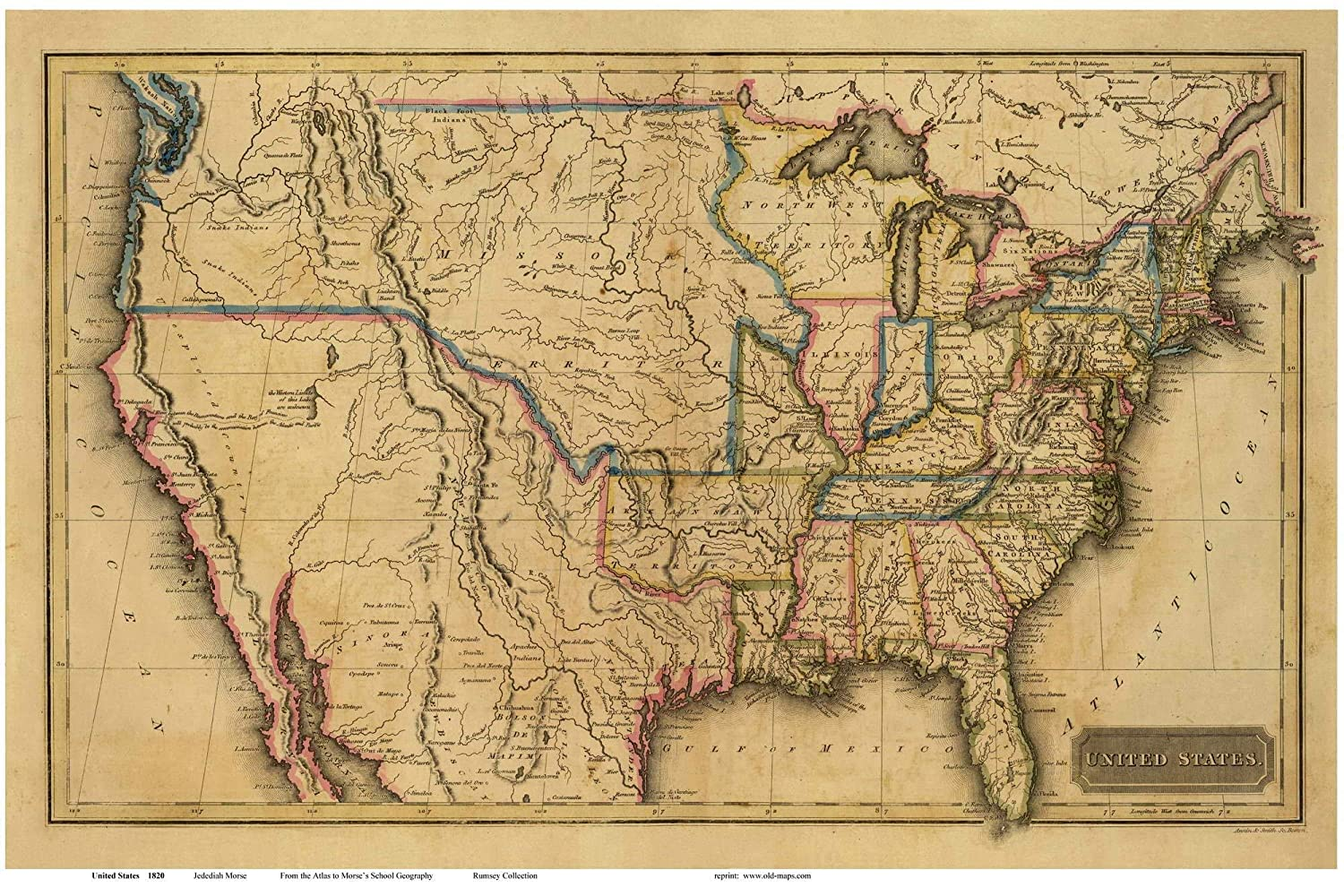 Www Map Of The United States.Amazon Com The United States Of America 1820 Map Usa Reprint