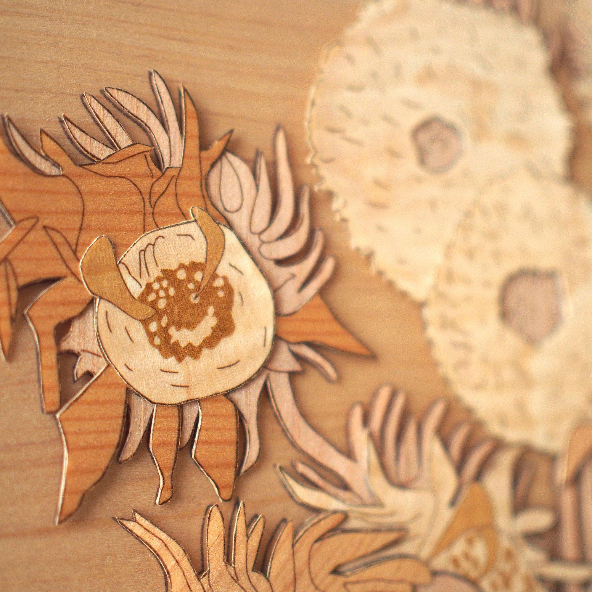 KINOWA Wooden Art Kit Kiharie Sunflowers Made in Japan by KINOWA (Image #9)