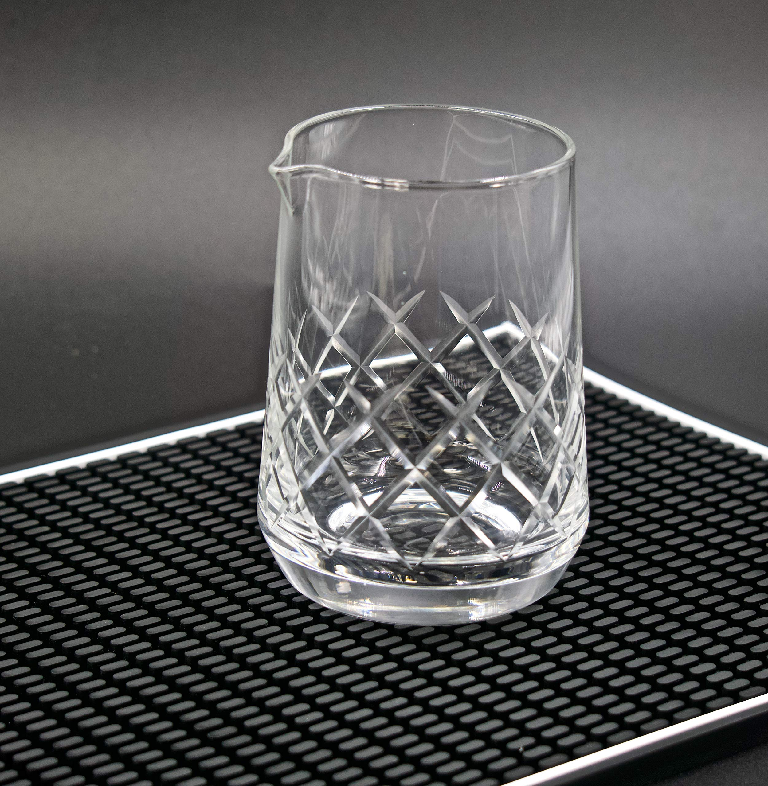 Highball & Chaser Lead Free Crystal Cocktail Mixing Glass. Beautiful 750ml (25oz) Seamless Weighted Bottom Diamond Cut…