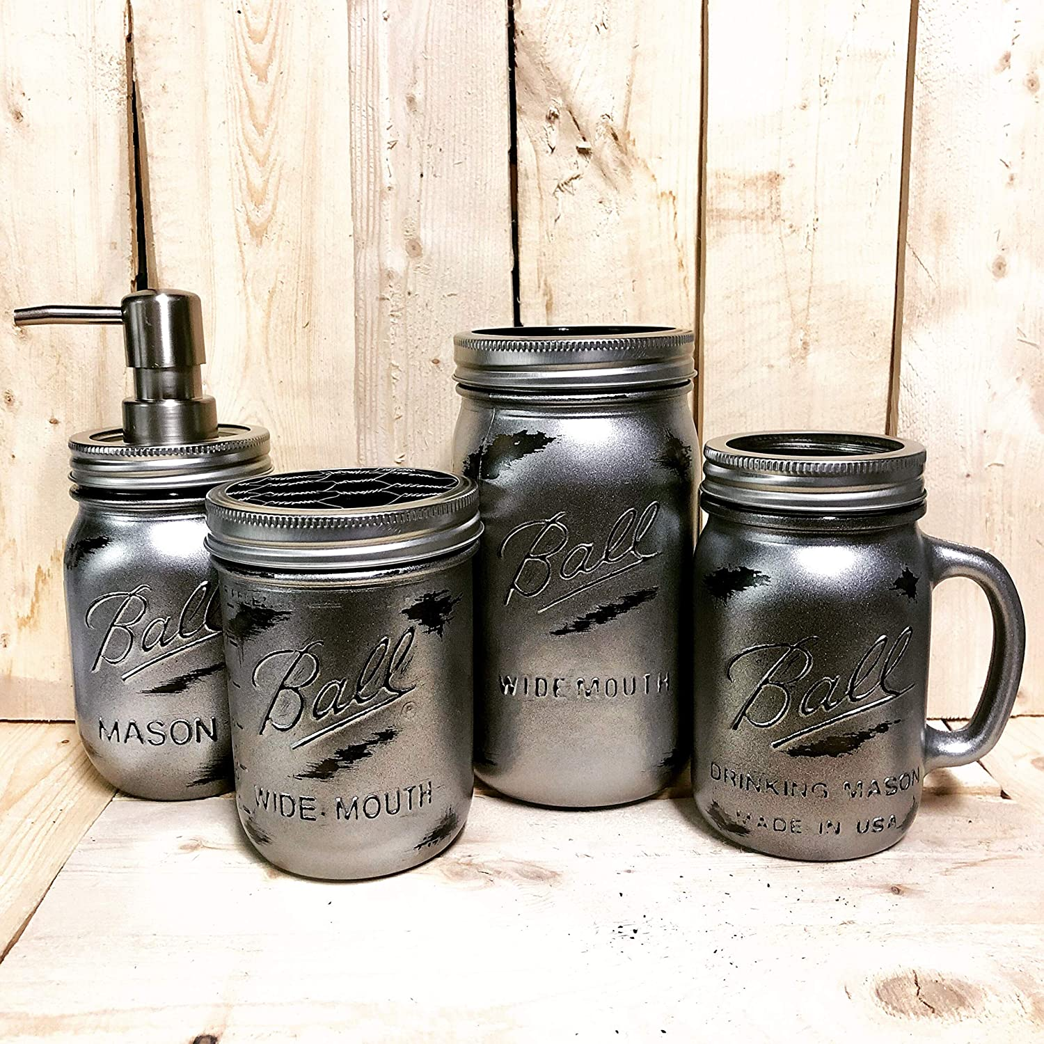 Amazon Com Rustic Industrial Silver Mason Jar Bathroom Accessories Set Soap Dispenser Toothbrush Holder Drinking Glass Mens Bath Storage Organization Modern Farmhouse Bathroom Decor Handmade