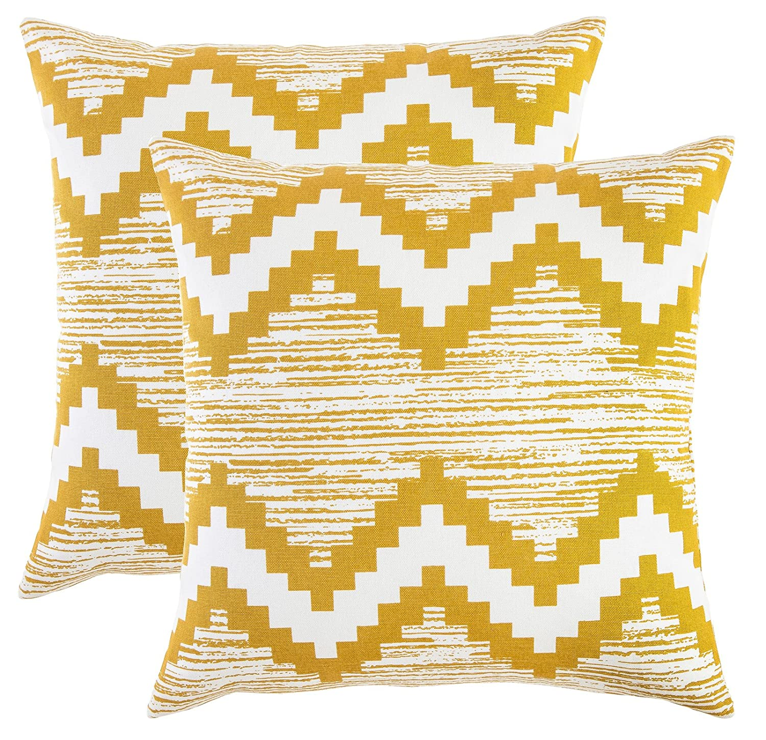 TreeWool, (Pack of 2) Ikat Chevron Accent Throw Pillow Covers in Cotton Canvas Mustard & White