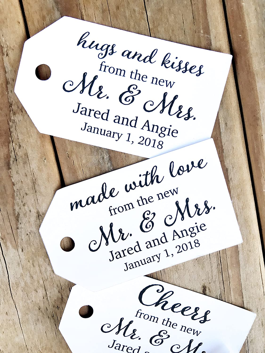 0054195b0890 Amazon.com: From The New Mr & Mrs Wedding Favor Tags Cheers Thank ...