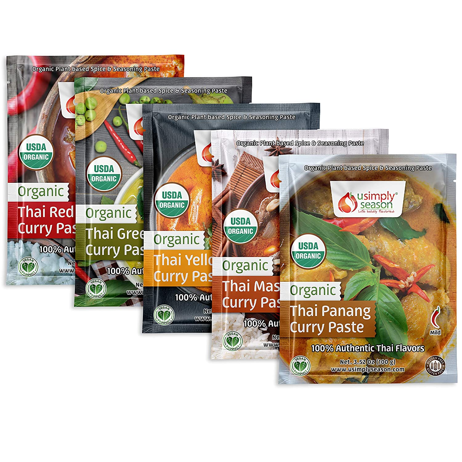 USimplySeason Organic Thai Spice Seasoning Curry Paste Bundle - Yellow Curry, Green Curry, Red Curry, Panang Curry & Massaman Curry (1 pack each)