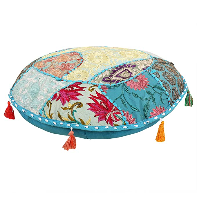 Funda de almohada redonda para suelo, cojín de suelo bohemio ...