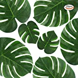Outuxed 30PCS (14 Inch and 8 Inch) Tropical Leaves Palm Leaves Imitation Plant Leaves, Hawaiian Jungle Beach Party Decorations Summer Flowers