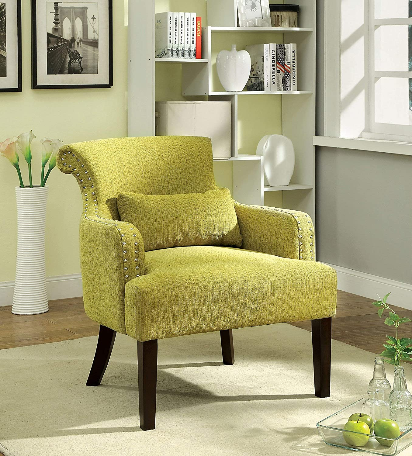 Furniture of America Venize Contemporary Style Accent Chair, Green
