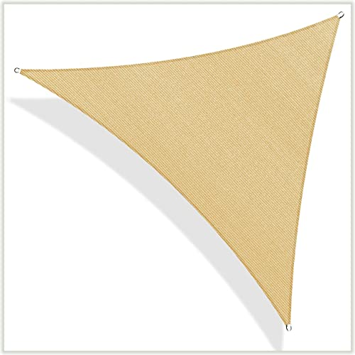 ColourTree TAPT20 Custom Size Order to Make 12' x 20' x 23.3' Sand Beige Right Triangle Sun Shade Sail Canopy Mesh Fabric UV Block