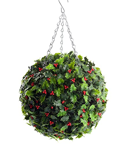 Christmas Topiary Balls.Best Artificial 30cm Holly Ball Christmas Topiary Xmas Hanging Basket