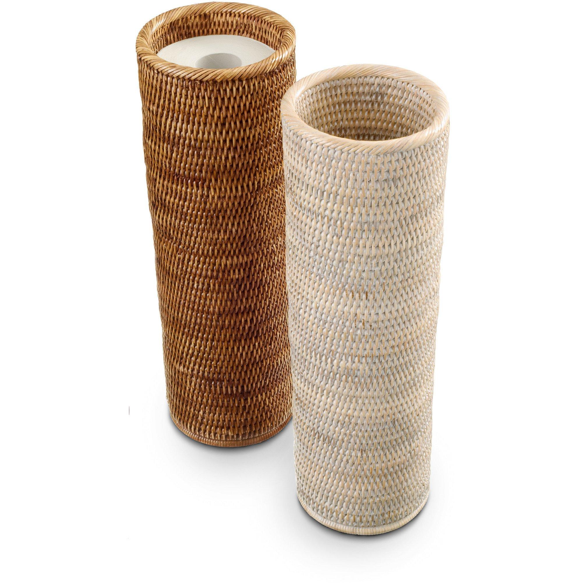 DWBA Malacca Round Free Standing Toilet Paper Holder Bathroom Storage - Rattan (Light Rattan)