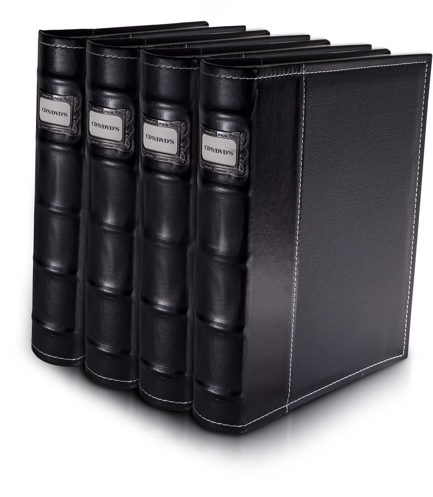 Bellagio-Italia Black DVD Storage Binder Set - Stores Up To 192 DVDs, CDs, or Blu-Rays - Stores DVD Cover Art - Acid-Free Sheets