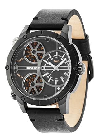 Police Reloj Analogico para Hombre de Cuarzo con Correa en Piel PL14699JSB.02: Amazon.es: Relojes