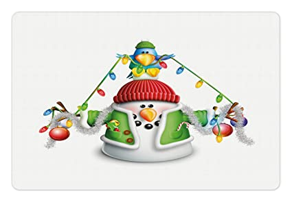 Amazon Com Ambesonne Snowman Pet Mat For Food And Water Cartoon
