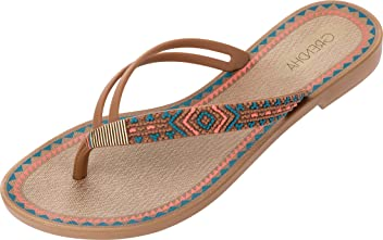 7df827229c0d0e Grendha Women s Acai Tribal Flip Flops Small Heel