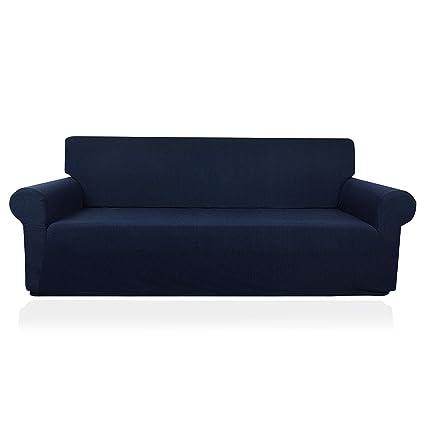 Beautiful Myth Stretch Sofa Cover 1 Piece Polyester Spandex Sofa Slipcover for Living Room (Navy, XL Sofa)