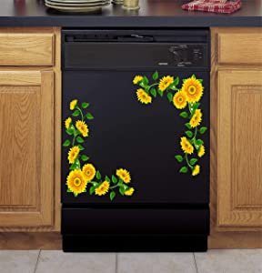Sunflower Vines Fridge & Dishwasher Christmas Holiday Vinyl Decal (Print)