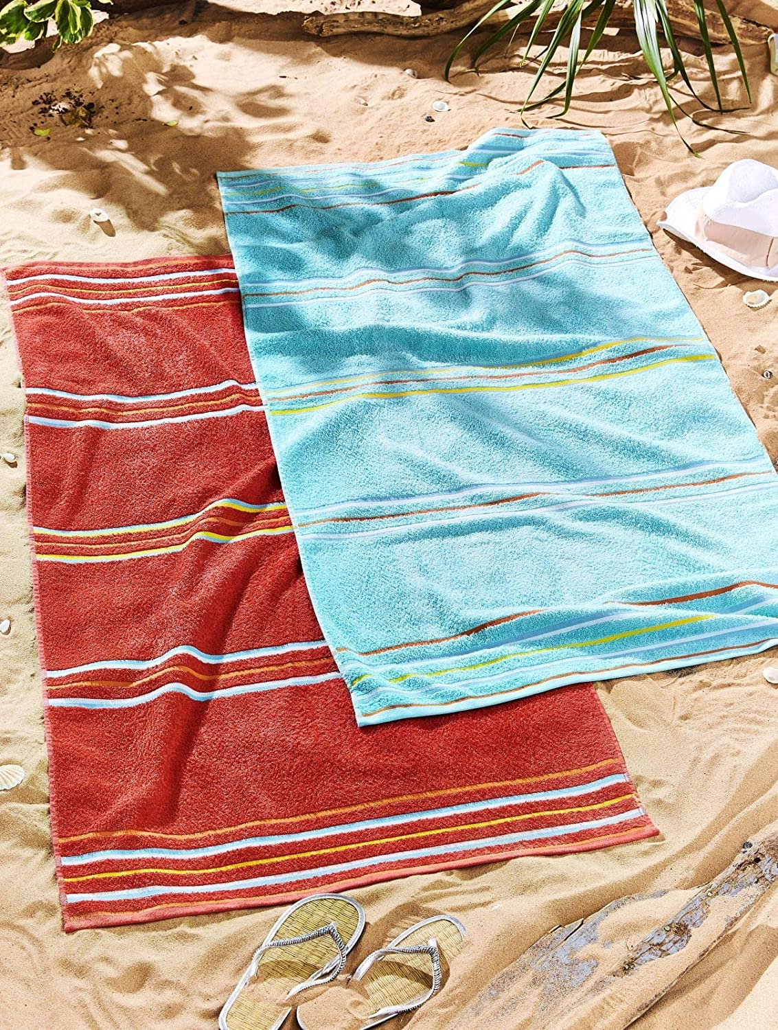 Catherine Lansfield Rainbow Pair Beach Towels Red Turner Bianca TW/41289/W/BCH2/RE