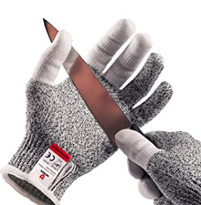 NoCry Cut Resistant Kitchen and Work Safety Gloves with Reinforced Fingers and Level 5 Protection; Ambidextrous, Machine Washable, and Food Safe. Medium