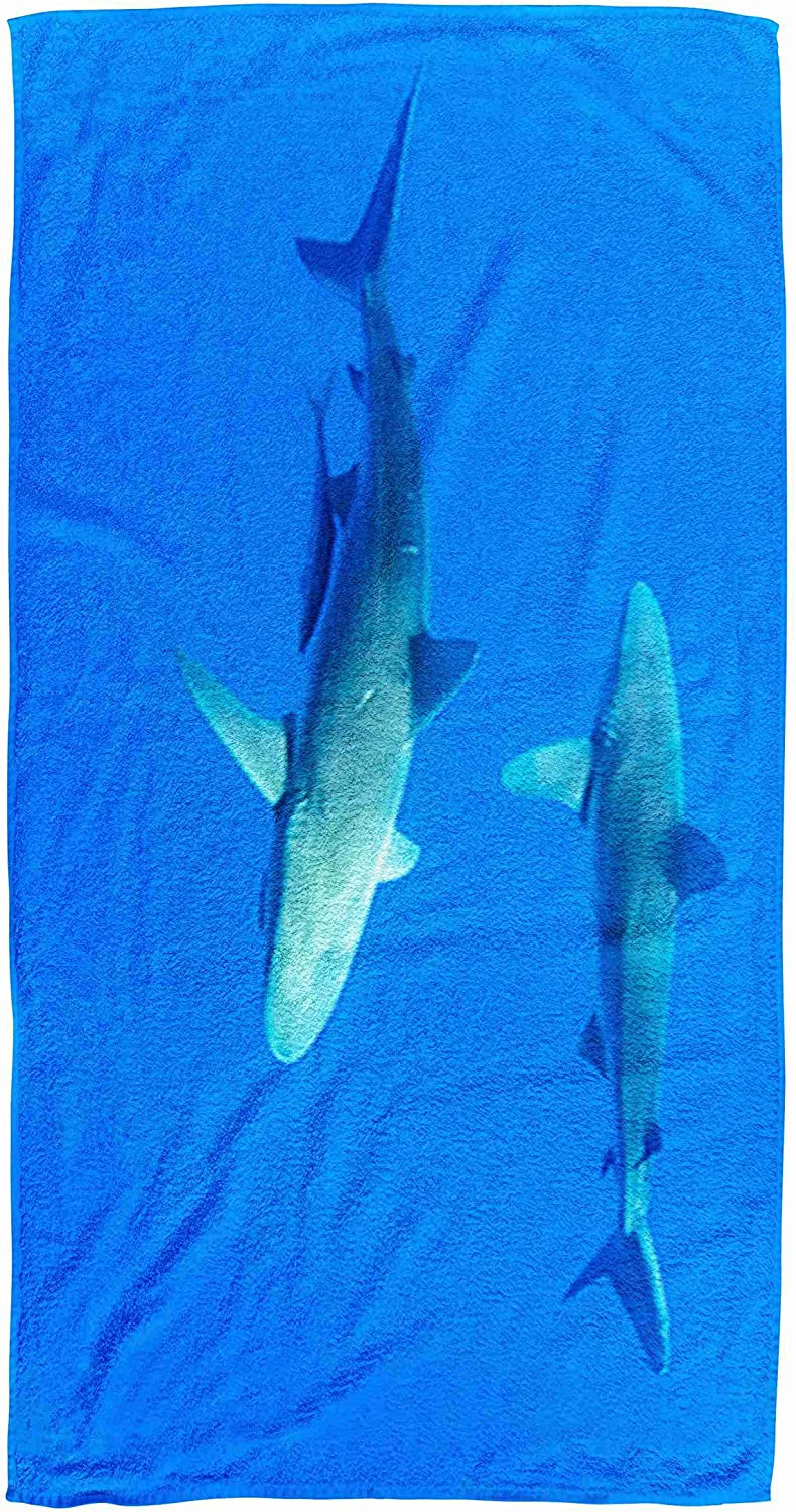 Bisead 30×60 Inch Beach Towel,Hawaii Sharks,Oahu,Beach Pool Travel,Large Absorbent Quick Dry,Gold Pink