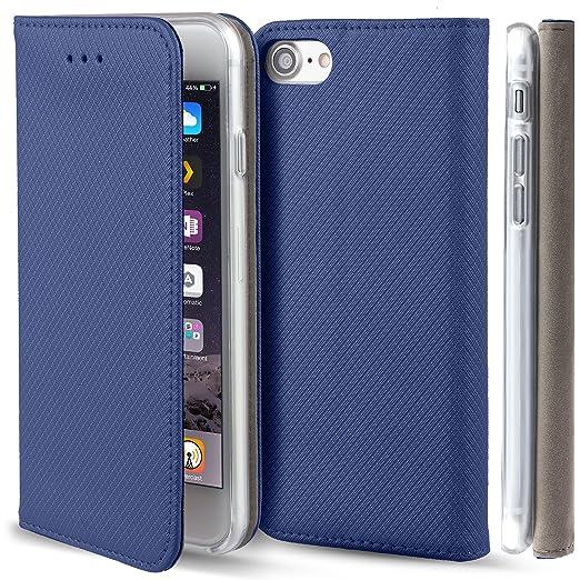 61 opinioni per Cover iPhone 7, cover iPhone 8 Blu scuro- Custodia a libro Flip Smart magnetica